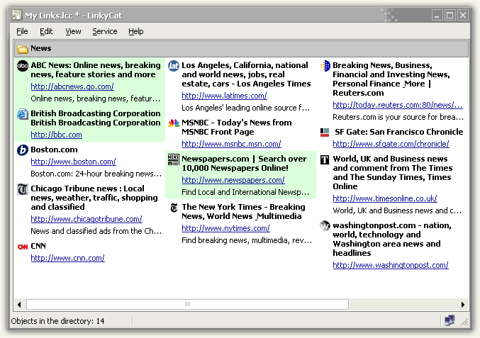 LinkyCat - Bookmarks manager - Multicolumn list view